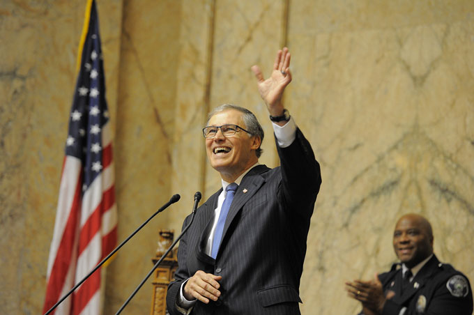 Washington Gov. Jay Inslee at the State of the State address in January. Flickr/Jay Inslee.