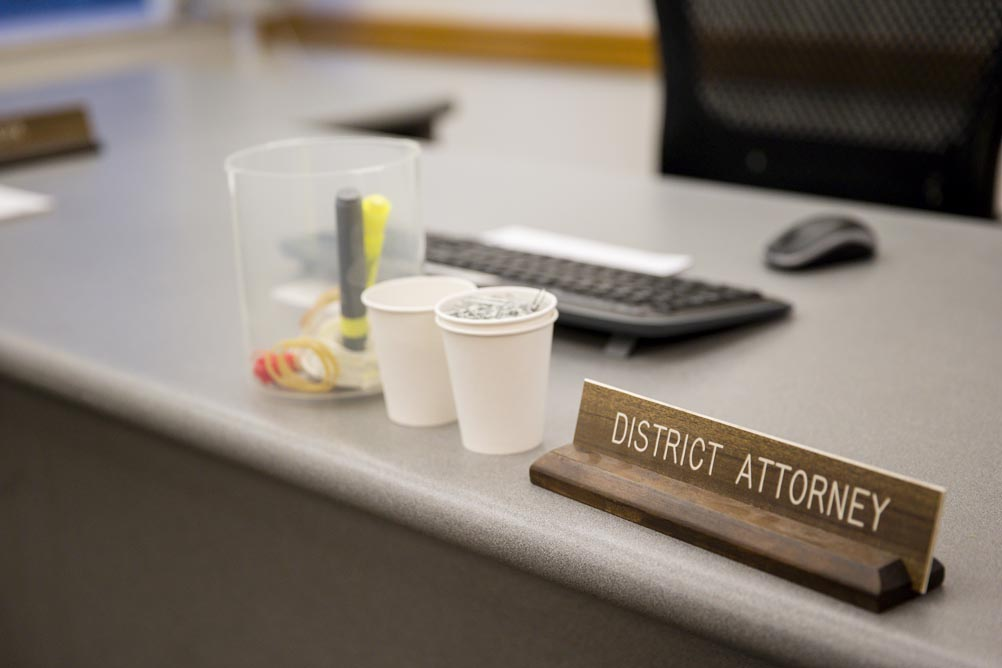 The room where grand juries hear testimony has a seat for the local district attorney. Defense attorneys charge that the absence of recordings opens the door to abuse by prosecutors. Photo: Leah Nash for InvestigateWest