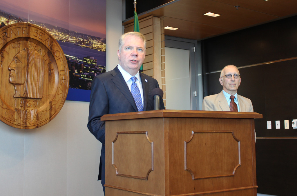 Seattle Mayor Ed Murray with Councilman Nick Licata at Monday's press conference.Photo: City of Seattle