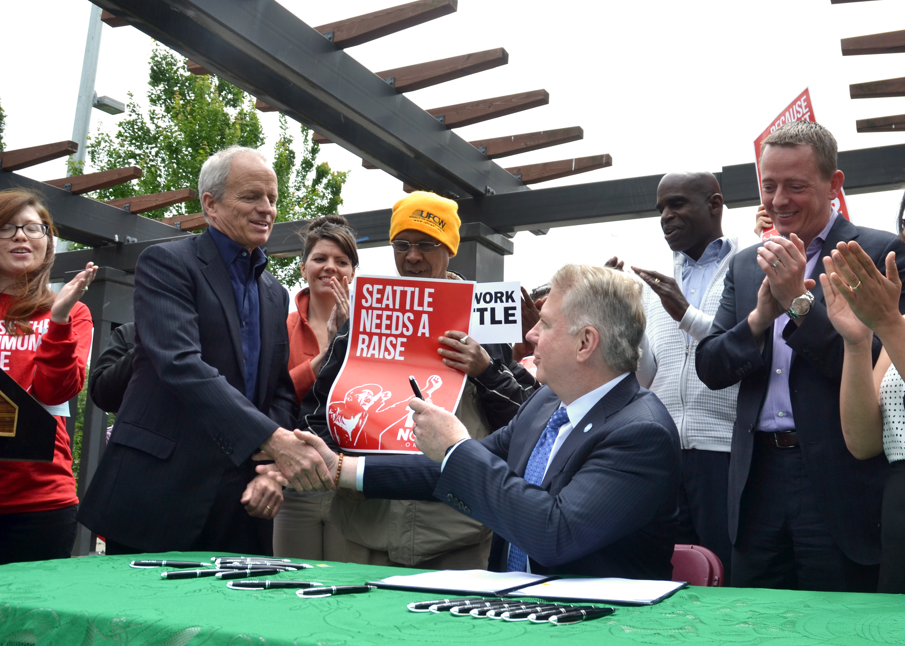 Seattle Mayor Ed Murray signed legislation earlier this year to raise the city'sminimum wage to $15 an hour. Credit: City of Seattle